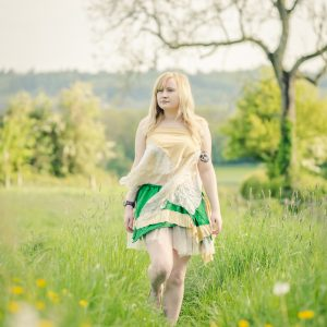 Green & gold silk tutu skirt