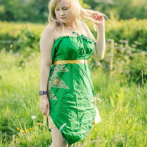 Green silk tunic top