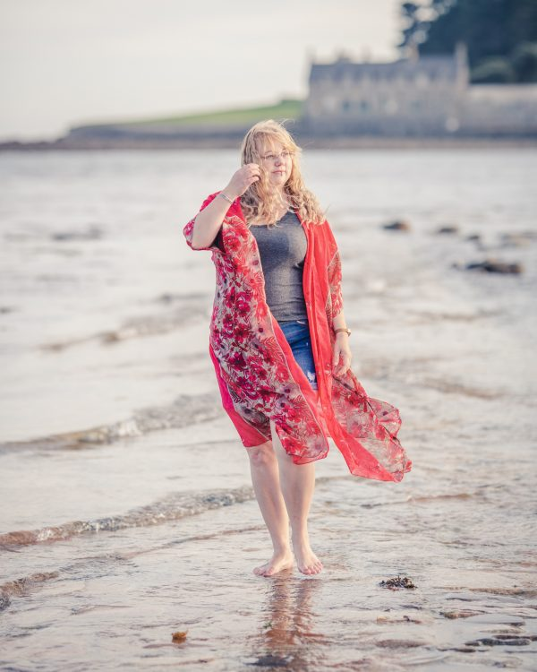 red floral beach jacket