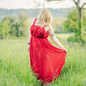 Red sheer maxi dress